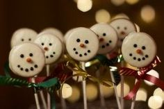 Oreo snowman pops/ use white choc covered Oreos to start!