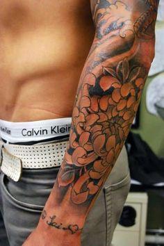 Black Ink Floral Tattoo Design For Men Left Forearm