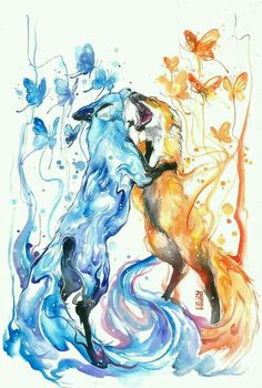 *speechless after this comment* anime animals, cool drawings, beautiful Cute Animal Drawings, Cute Drawings, Drawing Animals, Illustration, Fox Art, Painting & Drawing, Drake, Watercolor Art, Animal Watercolour