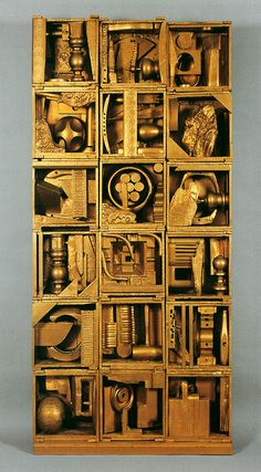 Louise Nevelson, Royal Tide I, painted wood, 86 x 40 x 8 inches. Collection of Peter and Beverly Lipman. © Estate of Louise Nevelson / Artists Rights Society (ARS), New York. Photo by Sheldan C. Louise Nevelson, Modern Sculpture, Sculpture Art, Sculpture Ideas, Modern Art, Contemporary Art, Cardboard Sculpture, Cardboard Art, Atelier D Art