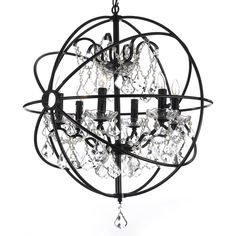 Foucault's Orb Crystal Iron 6 Light Chandelier | Overstock™ Shopping - Great Deals on Chandeliers & Pendants