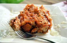 Apple Bread Pudding with a Hard Caramel Sauce {Gluten Free, Lactose Free}