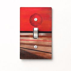 Light Switch Cover - Abstract Sun in red, orange and browns