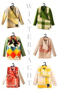 colorful blanket coats - wouldn't they be fabulous felted? Clothes Refashion, Diy Clothing, Blanket Coat, Diy Kleidung, Diy Vetement, Refashioning, Mode Inspiration, Diy Fashion, Fashion Coat