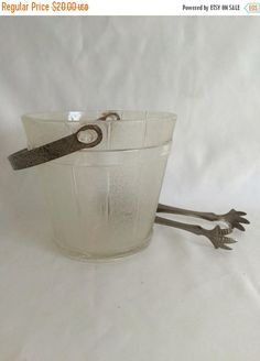 Sale Glass Barrel Ice Bucket and Hammered Aluminum Claw Ice Tongs