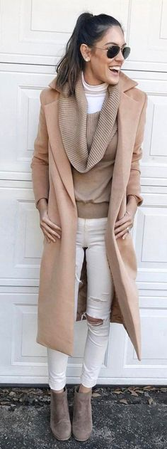 #winter #fashion / Camel Coat / White Destroyed Skinny Jeans / Grey Suede Booties