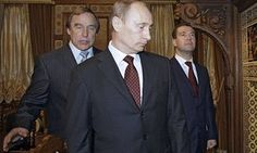 Sergei Roldugin, Vladimir Putin and Dmitry Medvedev