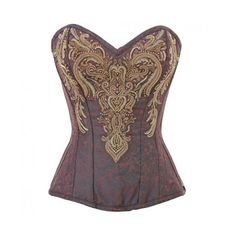 af836f3a58 CD-916 Brown Brocade Pattern Corset with Intricate Gold Embellishment ❤  liked on Polyvore featuring