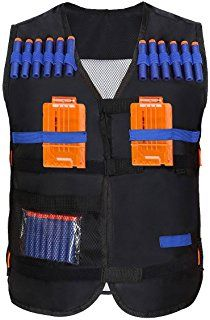 Yosoo Kids Elite Tactical Vest with 20 Pcs Soft Foam Darts for Nerf Gun N-strike Elite Series ( 2 Clips Not Included ) Nerf Vest, Swat Vest, Nerf Gun Attachments, Arma Nerf, Nerf Gun Storage, Pistola Nerf, Cool Nerf Guns, Kids Toys For Boys, Nerf Toys