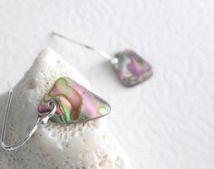 Paua Shell Earrings Blue Abalone Jewelry by GemsByKelley on Etsy