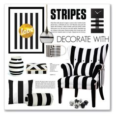 """""""decorate with stripes"""" by nanawidia ❤ liked on Polyvore featuring interior, interiors, interior design, home, home decor, interior decorating, Serena & Lily, NeXtime, Kähler and Ebb & Flow"""