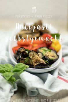 Antipasti selbstgemacht: Rezept für gegrillte Paprika, Auberginen und Balsamico-Pilze. Leckere italienische mediterrane Vorspeise gerade im Sommer | Homemade Antipasti: Recipe for grilled paprika, marinated eggplants and balsamico-mushrooms. Yummy Italian mediterranean appetizer perfect in summer.