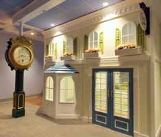 Let us enhance your business by creating theme enhancing amenities and decor! Customize and create a unique indoor playhouse or facade for your business! Indoor Playroom, Kids Indoor Playhouse, Girls Playhouse, Build A Playhouse, Wooden Playhouse, Indoor Playground, Playground Ideas, Arcade, Backyard Sheds