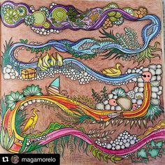 """""""Uau! ☺️ Ficou demais essa página da @magamorelo,adorei a cor do fundo ❤️ Original!! ______________________________ #jardimsecreto #florestaencantada…"""""""