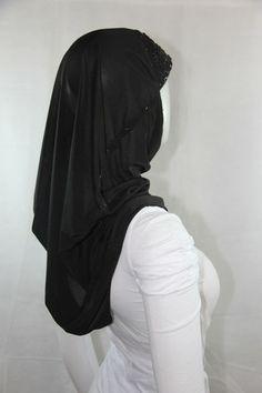beaded hijab - black