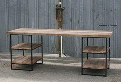 Reclaimed Wood Oak Desk with shelves. Steel. Custom by leecowen