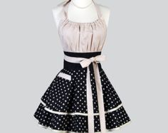 Flirty Chic Apron Gray and White Polka Dots with by CreativeChics