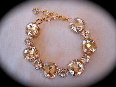 Swarovski Champagne Bridal  Bracelet - chunky wedding rhinestone bracelet,  rhinestone bracelet, golden crystal bracelet