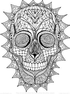 Sugar Skull Zentangle Coloring  Page by InspirationbyVicki on Etsy