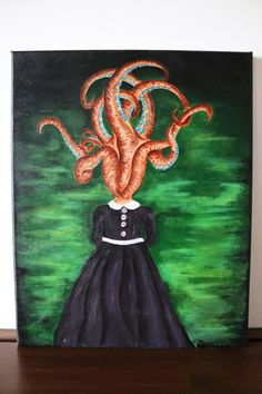 Octavia 40x50cm ©Billy Octopus Painting, Acrylic Painting Canvas, Original Artwork, Things To Come, The Originals, Frame, Artist, Etsy, Picture Frame