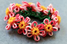 Flower-Charm-Bracelet by YarnJourney, via Flickr