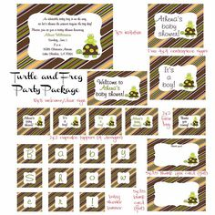 PRINTABLE Turtle and Frog with Stripes Party by NotableAffairs