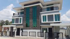 Two Storey House Design with 3 Bedrooms - House And Decors Two Bedroom House Design, Two Story House Design, Porch And Foyer, Modern Architectural Styles, House With Balcony, Modern Bungalow House, Looking For Houses, Duplex House Plans, Two Storey House