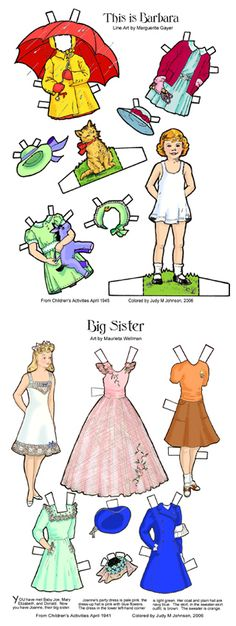 Miniature versions of 1940s paper doll would be good for dollhouse day nursery. Paper Goods is a good source of reasonably priced reproduction paper goods that could be used as inspiration for vintage dollhouses/roomboxes | Source: Paper Goodies