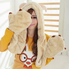 59d456ef713 73 Best plush animal hat scarf and gloves all in one images