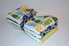 Baby Burp Cloth Set - Boy Burp Cloths - Sweet Owl - Blue Green - Premium 6 ply on Etsy, $20.00