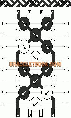 diagonal stripe basketweave easy friendship bracelet pattern 2 color 4 string