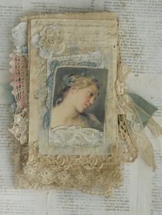 Mixed Media Fabric Collage Book of Old Lace and Roses   eBay