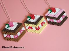 perler bead furniture | ... chocolate cake made out of Perler beads, attached to a 24 inch chain