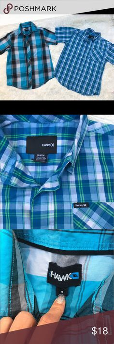2 boys short sleeve Plaid shirts No stains or rips Hurley Shirts & Tops Button Down Shirts