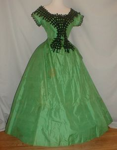 Green silk ball/evening gown, ca. 1860s | In the Swan's Shadow