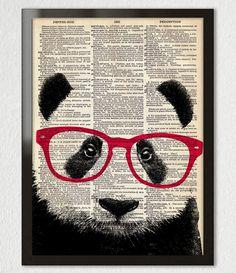 Smart PANDA Bear, porter des lunettes animaux Art Print affiche Illustration Antique dictionnaire ORIGINAL livre Page 8 x 10 A3 + plus de tailles by PatricianPrints on Etsy
