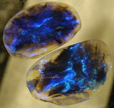 Lightning Ridge Black Opal Pair By: Wood's Stoneworks Very Cool!