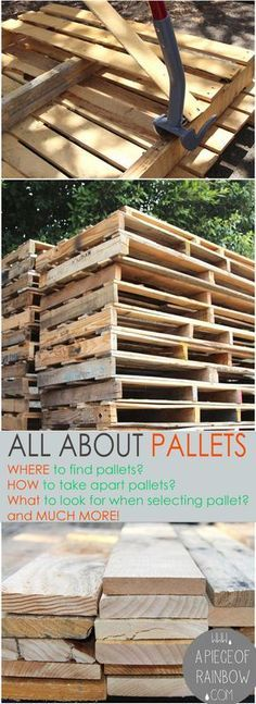 Loads of tips All About Pallets! – Where to find pallets, how to select & take a… Loads of tips All About Pallets! – Where to find pallets, how to select & take apart pallets, working with pallets, and pallet project ideas! Pallet Crafts, Pallet Art, Diy Pallet Projects, Furniture Projects, Wood Projects, Pallet Wood, Pallet Walls, Garden Furniture, Diy Pallet Wall
