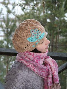 Купить Бежевый объёмный теплый берет - бежевый, берет вязаный, Екатеринбург, берет на осень