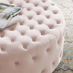 Pink Ottoman, Round Ottoman, Upholstered Ottoman, Chair And Ottoman, Bedroom Closets, Teen Bedroom, Bedroom Decor, Unique Coffee Table, Big Sofas