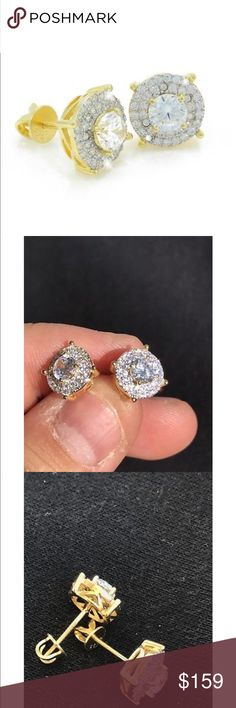 14k gold over Sterling silver lab diamonds earings For men Accessories Jewelry