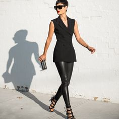 Hit the town in these vegan leather leggings featuring a stretch panel at waist and stretch fabric. Your wardrobe won't be complete without these staple leggings. Looks killer with a shredded tee and Look Fashion, Autumn Fashion, Womens Fashion, Fashion Trends, Street Fashion, Mode Chic, Mode Style, Look Kim Kardashian, All Black Outfit