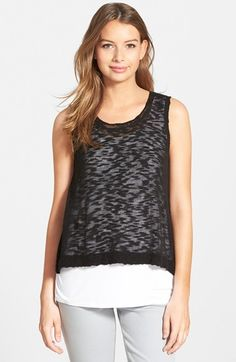 Women's kensie Sleeveless Sweater with Tank Liner