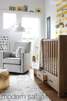 Create a safari inspired nursery that still feels chic and modern. Include a shag rug and bits of metallic, along with playful animal print crib bedding for the perfect balance. Take a closer look at the pieces that combine to make this chic, yet playful space.