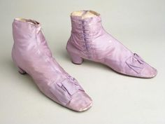 Lilac silk side-lace boots, 1860s.