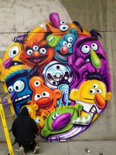 Graffiti art by David Choe #graffiti I took pictures infront of this when it was finished. Kinda cool