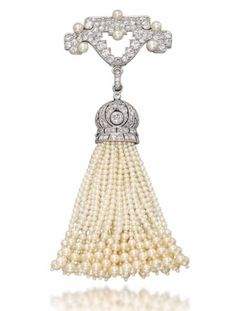 Belle Epoque Pearl and Diamond Brooch, Cartier. The pavé-set geometrical top with pearl accent suspending a detachable seed pearl tassel pendant with diamond-set openwork cap, cm Signed Cartier, no. Cartier Jewelry, Pearl Jewelry, Fine Jewelry, Bullet Jewelry, Geek Jewelry, Men's Jewelry, Jewelry Stores, Edwardian Jewelry, Antique Jewelry