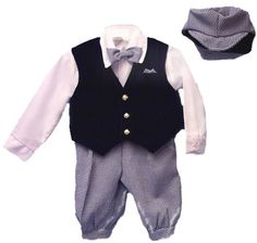 Boys Navy/white Dress Knickers 5-pc Outfit with Navy Velvet Vest   Newsboy Cap, Infants 6-24m, Toddlers 1t-4t, Boys 4-8 Dress Me Up Cute. $29.99