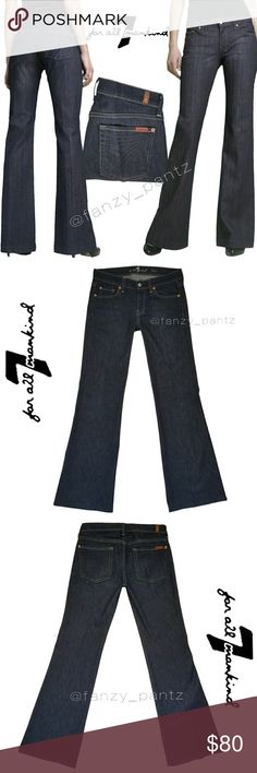 "7FAM Dojo 'Mercer' flare jeans 27 x 32 7 for All Mankind ~ Dojo ~ mid rise ~ wide leg, flare jeans, trouser ~ Dark 'Mercer' wash with deep blue logo pocket embroidery ~ this specific style was made exclusive for Nordstrom ~  stock photo shown is exact style & wash ~ 32"" inseam~ PERFECT condition  measurements &  details in last photo  NO trades  ✔reasonable offers welcome       or ❤hit 'add to bundle' for a no obligation, private offer....just for you❤ 7 For All Mankind Jeans Flare & Wide…"