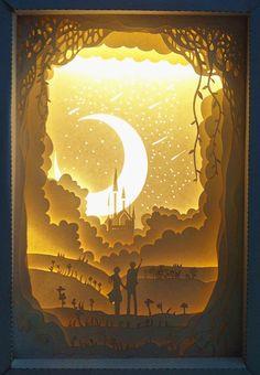 光影紙雕燈圖紙燈帶相框燈箱模型DIY手工制作工具材料包禮物品